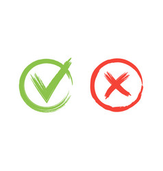 hand drawn red and green grunge check mark vector image vector image