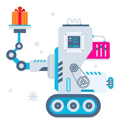 machine holds Christmas present vector image vector image