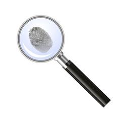 Magnifying glass searching for fingerprint vector