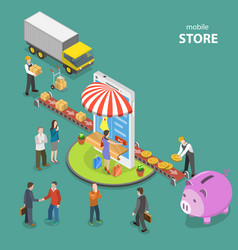 mobile store flat isometric low poly concept vector image