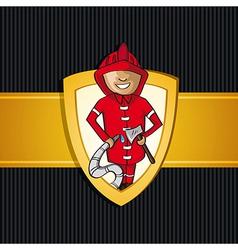 Service firefighter man cartoon Rescue shield vector image vector image