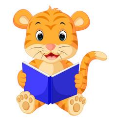 tiger reading book vector image vector image