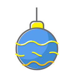 christmass ball flat line style vector image vector image