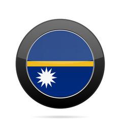 flag of nauru shiny black round button vector image
