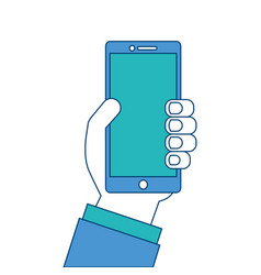 hand holding mobile phone device vector image