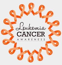 Leukemia cancer awareness ribbon design with text vector image vector image