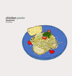 pesto spaghetti hand draw sketch vector image vector image