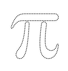 pi greek letter sign black dashed icon on vector image