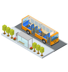 bus stop station autobus with people and seats vector image
