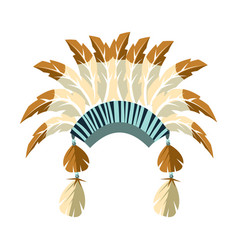 chiefs war bonnet with feathers native american vector image vector image
