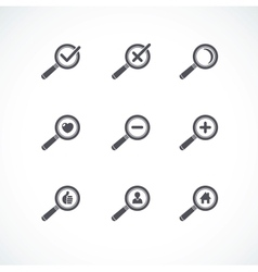 Flat style Magnifier icon set vector image vector image