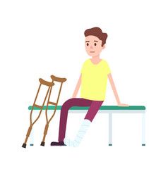patient on crutches with broken leg icon vector image vector image