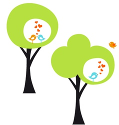 tree with love birds vector image vector image