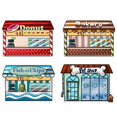 A donut store bakery fish and chips store and a vector image vector image