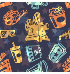 Seamless pattern with cinema icons vector image vector image