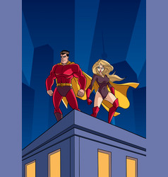 superhero couple roof watch vector image