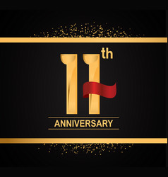 11 years anniversary logotype with premium gold vector