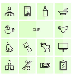 14 clip icons vector image