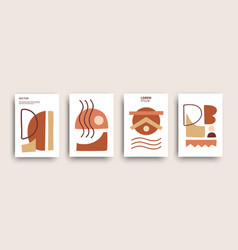 Abstract shapes composition poster collection vector