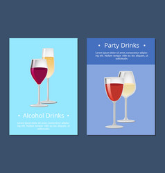 Alcohol drinks party cocktails posters with wine vector