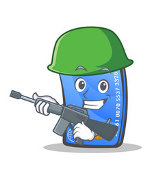 Army credit card character cartoon vector