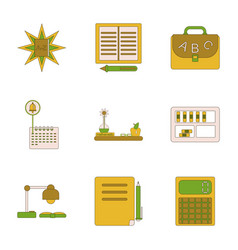 assembly flat icons school supplies vector image