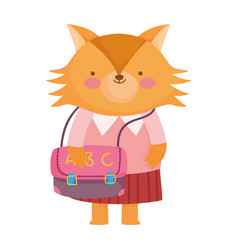 Back to school cute female fox with clothes and vector
