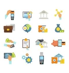 Banking Service Icon Flat Set vector image