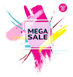 Banner with text mega sale for emotion and vector