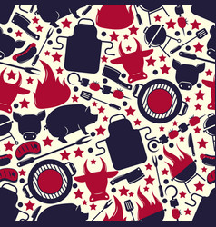 Barbeque icons seamless pattern vector