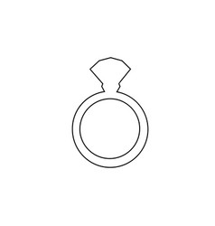 black outline silhouette of ring with diamond on vector image