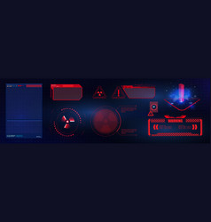 blue and red futuristic frame in modern hud vector image