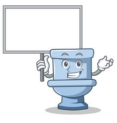 Bring board toilet character cartoon style vector