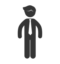 business man suit tie icon graphic vector image