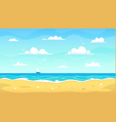 cartoon beach landscape summer ocean sandy vector image
