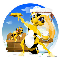 cartoon bee eps 10 vector image