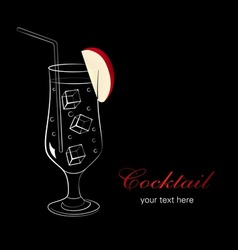 Cocktail with apple vector