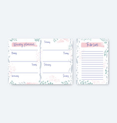 Collection weekly planner and to-do-list vector
