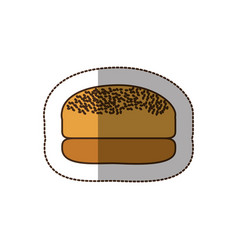 Color hamburger bread icon vector