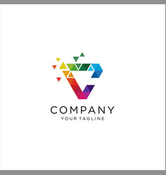 colorful letter c tech logo design vector image