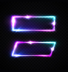 colorful neon square signs set glowing rectangles vector image