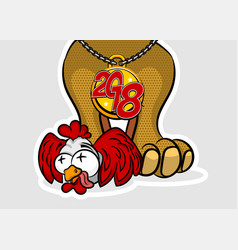 Comic cartoon dpg rooster 2018 new year vector