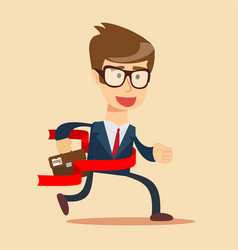 concept of successful businessman in a finishing vector image