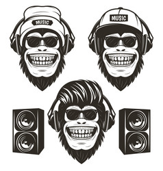 Cool hip hop music monkey set hand drawn vector