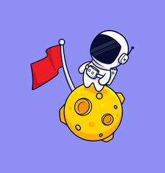 Cute astronaut standing on moon cartoon icon vector
