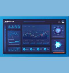 dark dashboard ui ux kit template vector image