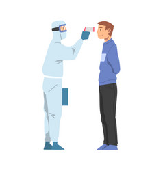 doctor measuring temperature man with infrared vector image