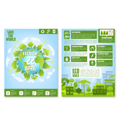Earth day brochure template with eco green city vector