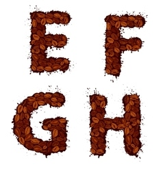EFGH english alphabet letters made of coffee vector image