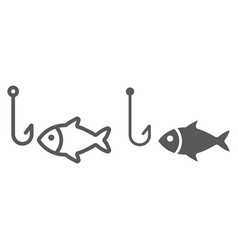 fishing line and glyph icon animal and underwater vector image